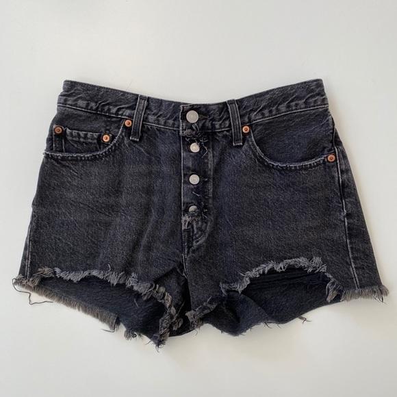 Levi's black denim cutoff shorts